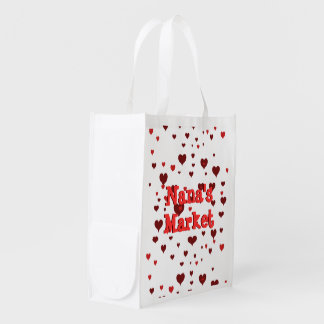 Personalized Name on Heart's Bag Market Totes