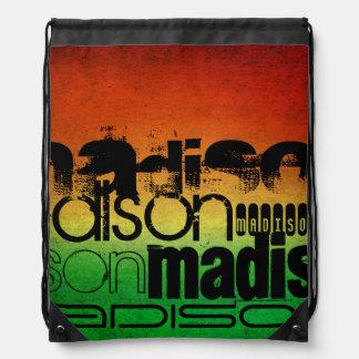 Personalized Name on Neon Orange Yellow & Green Drawstring Bag