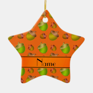 Personalized name orange acorns christmas ornament