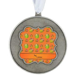Personalized name orange acorns scalloped pewter ornament