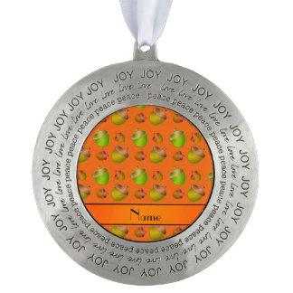 Personalized name orange acorns round ornament