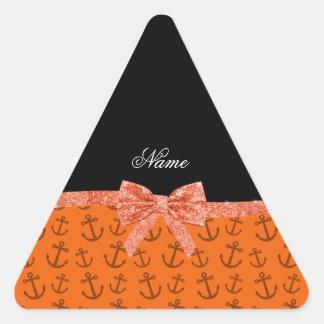 Personalized name orange anchors glitter bow sticker