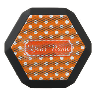 Personalized Name Orange and White Polka Dots Black Boombot Rex Bluetooth Speaker