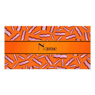 Personalized name orange bacon pattern photo cards
