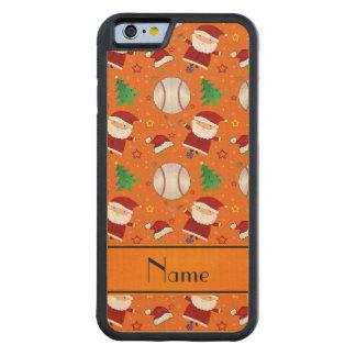 Personalized name orange baseball christmas carved® maple iPhone 6 bumper