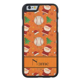 Personalized name orange baseball christmas carved® maple iPhone 6 slim case