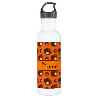 Personalized name orange baseball gloves balls 710 ml water bottle