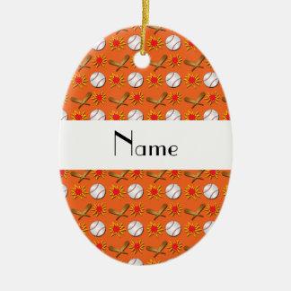 Personalized name orange baseball pattern christmas ornament