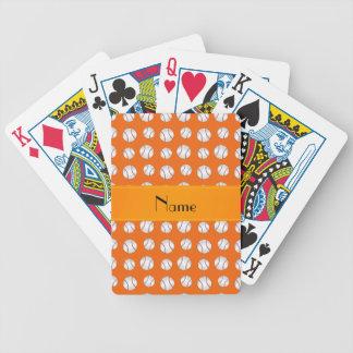 Personalized name orange baseballs pattern bicycle playing cards