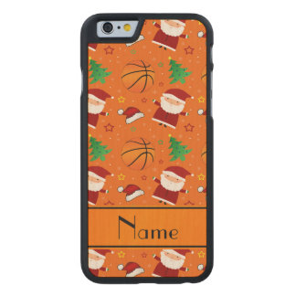 Personalized name orange basketball christmas carved® maple iPhone 6 slim case
