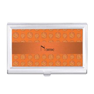 Personalized name orange basketballs business card holder
