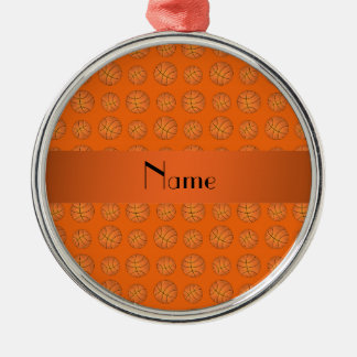 Personalized name orange basketballs christmas ornament