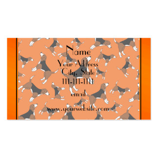 Personalized name orange beagle dog pattern pack of standard business cards