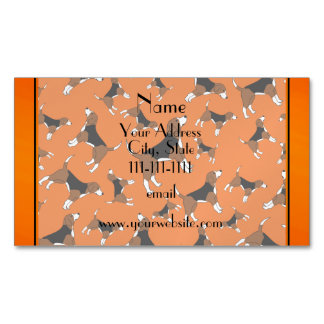 Personalized name orange beagle dog pattern magnetic business cards
