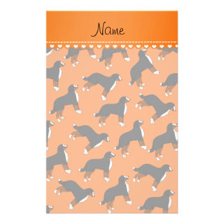 Personalized name orange Bernese Mountain dogs Stationery Design
