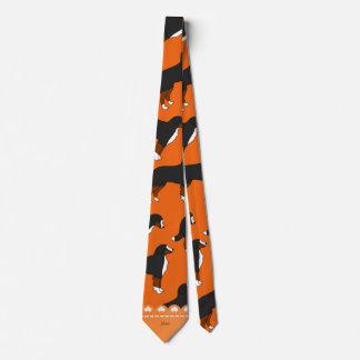 Personalized name orange Bernese Mountain dogs Tie