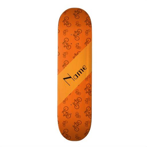 Personalized name orange bicycle pattern skate boards