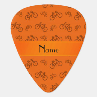 Personalized name orange bicycles guitar pick