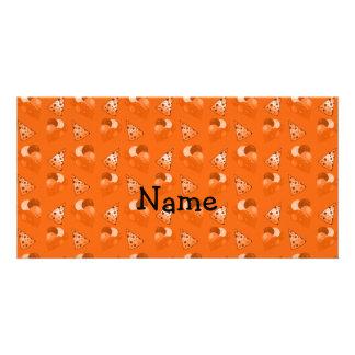 Personalized name orange birthday pattern personalized photo card