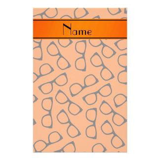 Personalized name orange black glasses stationery