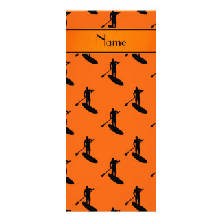 Personalized name orange black paddleboarding rack card template