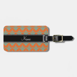 Personalized name Orange blue damask Bag Tag