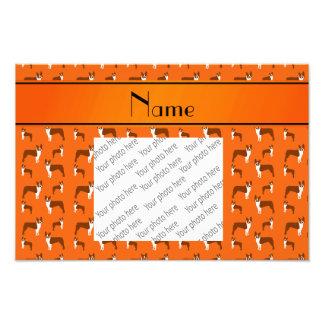 Personalized name orange boston terrier photo