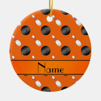 Personalized name orange bowling balls pins christmas ornament