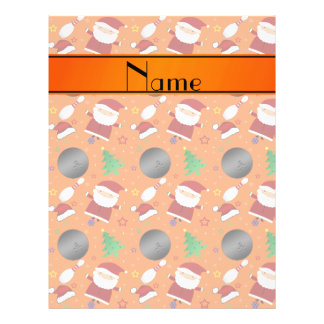 Personalized name orange bowling christmas pattern flyers