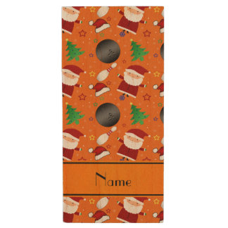 Personalized name orange bowling christmas pattern wood USB 2.0 flash drive