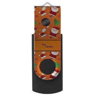 Personalized name orange bowling christmas pattern swivel USB 2.0 flash drive