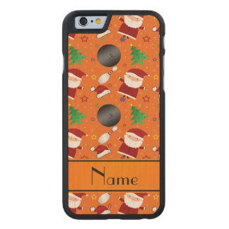 Personalized name orange bowling christmas pattern carved® maple iPhone 6 case
