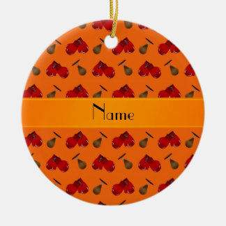 Personalized name orange boxing pattern christmas ornament