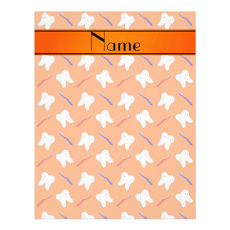 Personalized name orange brushes and tooth pattern 21.5 cm x 28 cm flyer