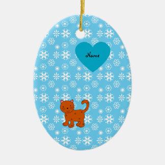 Personalized name orange cat blue snowflakes christmas ornament