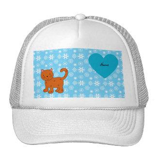 Personalized name orange cat blue snowflakes trucker hat