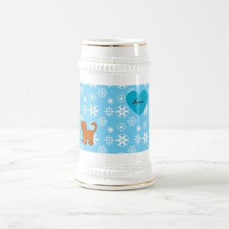 Personalized name orange cat blue snowflakes mug