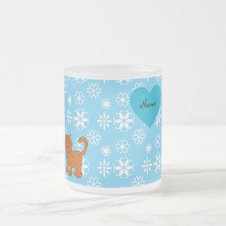 Personalized name orange cat blue snowflakes coffee mug