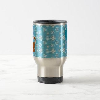 Personalized name orange cat blue snowflakes mugs