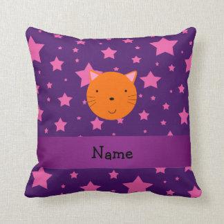 Personalized name orange cat face purple pink star cushion