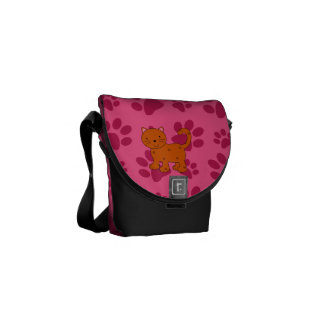 Personalized name orange cat pink paws messenger bags