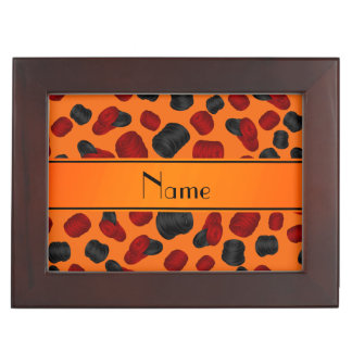 Personalized name orange checkers game memory box