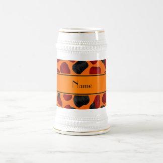 Personalized name orange checkers game coffee mugs