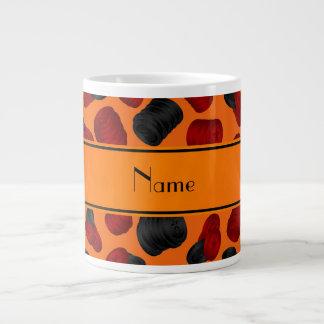 Personalized name orange checkers game jumbo mugs