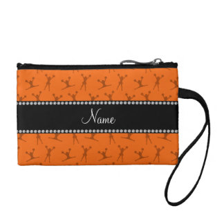 Personalized name orange cheerleader pattern coin purse