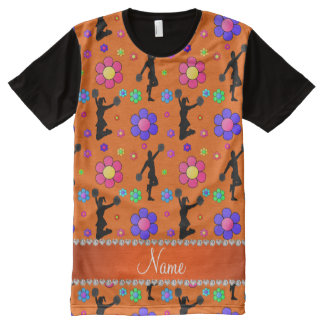 Personalized name orange cheerleading flowers All-Over print T-Shirt