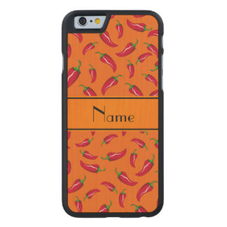 Personalized name orange chili pepper carved® maple iPhone 6 slim case