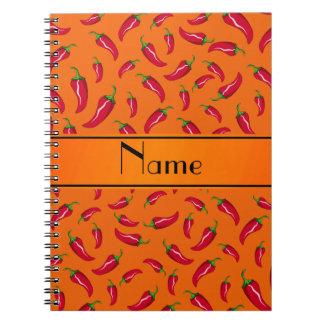 Personalized name orange chili pepper notebooks