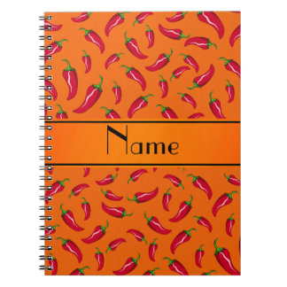 Personalized name orange chili pepper spiral notebook