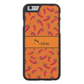 Personalized name orange chili pepper carved® maple iPhone 6 slim case